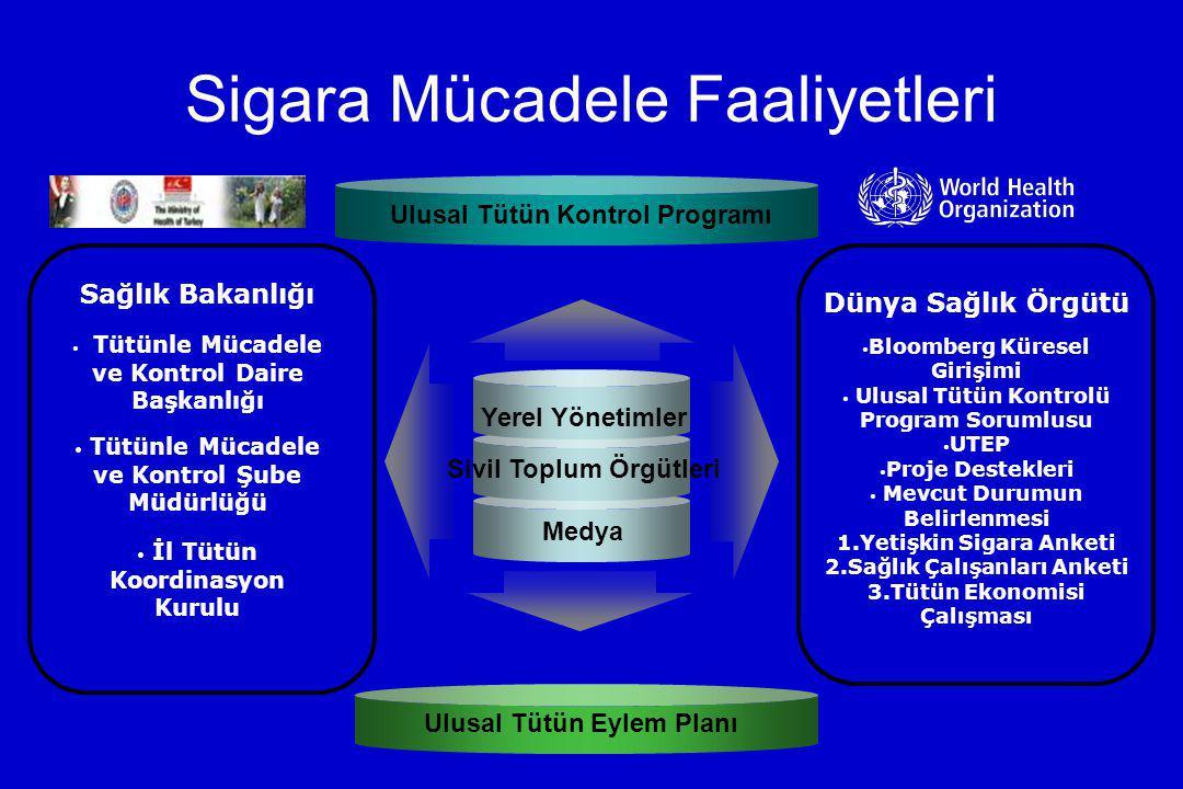Sigara Mücadele Faaliyetleri Yerel Yönetimler Sivil Toplum Örgütleri Medya Sağlık Bakanlığı Tütünle Mücadele ve Kontrol Daire Başkanlığı Tütünle Mücad
