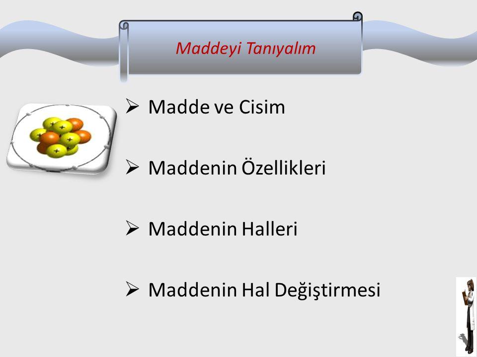  Madde ve Cisim  Maddenin Özellikleri  Maddenin Halleri  Maddenin Hal Değiştirmesi Maddeyi Tanıyalım