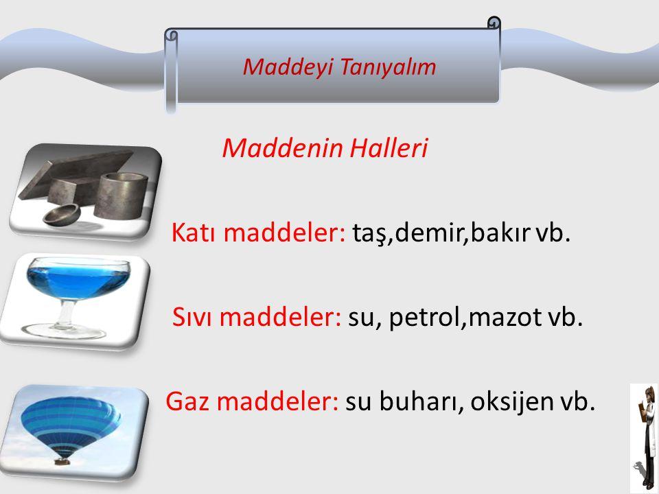 Maddenin Halleri Katı maddeler: taş,demir,bakır vb. Sıvı maddeler: su, petrol,mazot vb. Gaz maddeler: su buharı, oksijen vb. Maddeyi Tanıyalım
