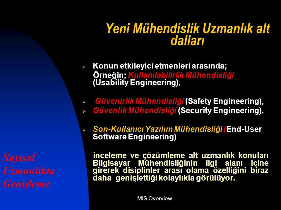 MIS Overview Yeni Mühendislik Uzmanlık alt dalları  Konun etkileyici etmenleri arasında; Örneğin; Kullanılabilirlik Mühendisliği (Usability Engineering),  Güvenirlik Mühendisliği (Safety Engineering),  Güvenlik Mühendisliği (Security Engineering),  Son-Kullanıcı Yazılım Mühendisliği (End-User Software Engineering) inceleme ve çözümleme alt uzmanlık konuları Bilgisayar Mühendisliğinin ilgi alanı içine girerek disiplinler arası olama özelliğini biraz daha genişlettiği kolaylıkla görülüyor.