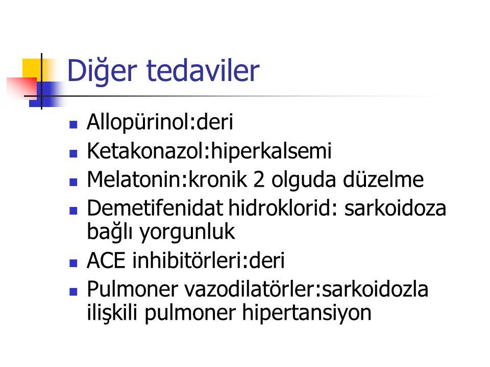 Diğer tedaviler Allopürinol:deri Ketakonazol:hiperkalsemi Melatonin:kronik 2 olguda düzelme Demetifenidat hidroklorid: sarkoidoza bağlı yorgunluk ACE