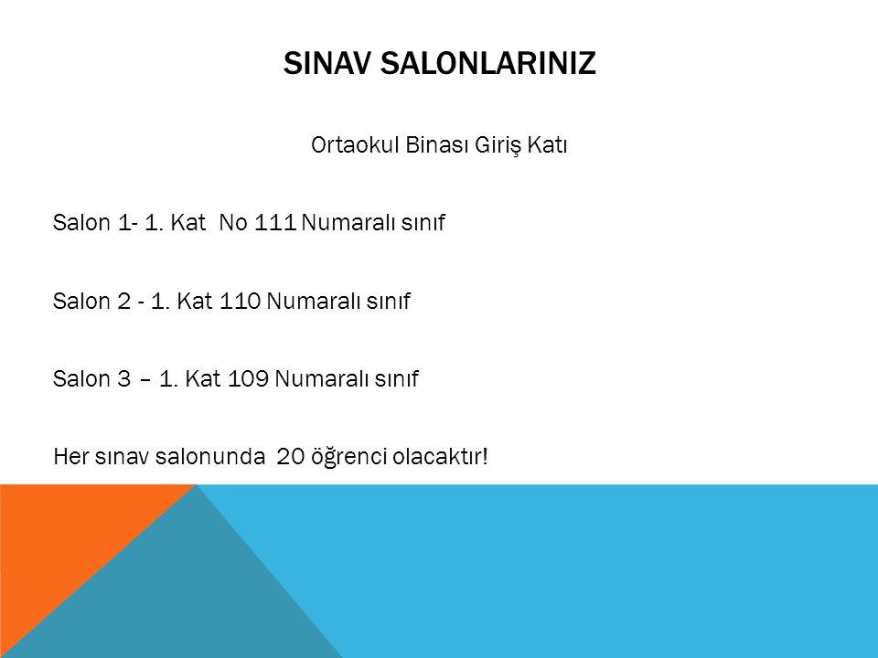 SINAV SALONLARINIZ Ortaokul Binası Giriş Katı Salon 1- 1. Kat No 111 Numaralı sınıf Salon 2 - 1. Kat 110 Numaralı sınıf Salon 3 – 1. Kat 109 Numaralı