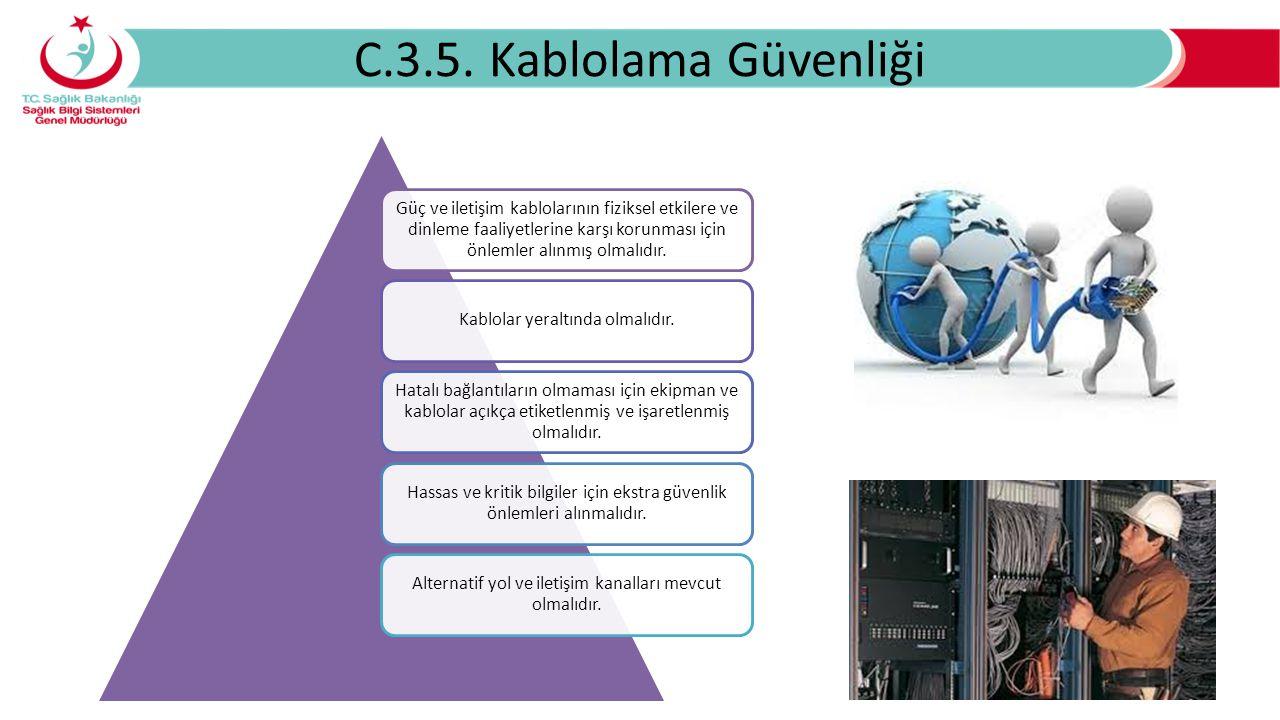 C.3.5. Kablolama Güvenliği Güç ve iletişim kablolarının fiziksel etkilere ve dinleme faaliyetlerine karşı korunması için önlemler alınmış olmalıdır. K