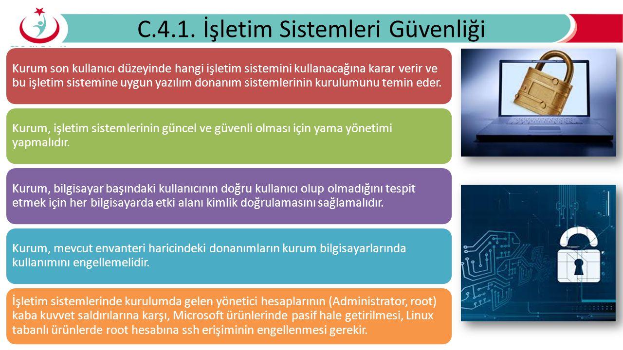 C.4.1. İşletim Sistemleri Güvenliği Kurum son kullanıcı düzeyinde hangi işletim sistemini kullanacağına karar verir ve bu işletim sistemine uygun yazı