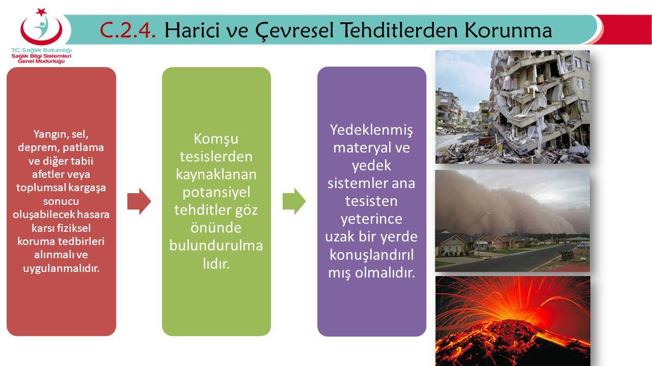 C.2.4. Harici ve Çevresel Tehditlerden Korunma Yangın, sel, deprem, patlama ve diğer tabii afetler veya toplumsal kargaşa sonucu oluşabilecek hasara k