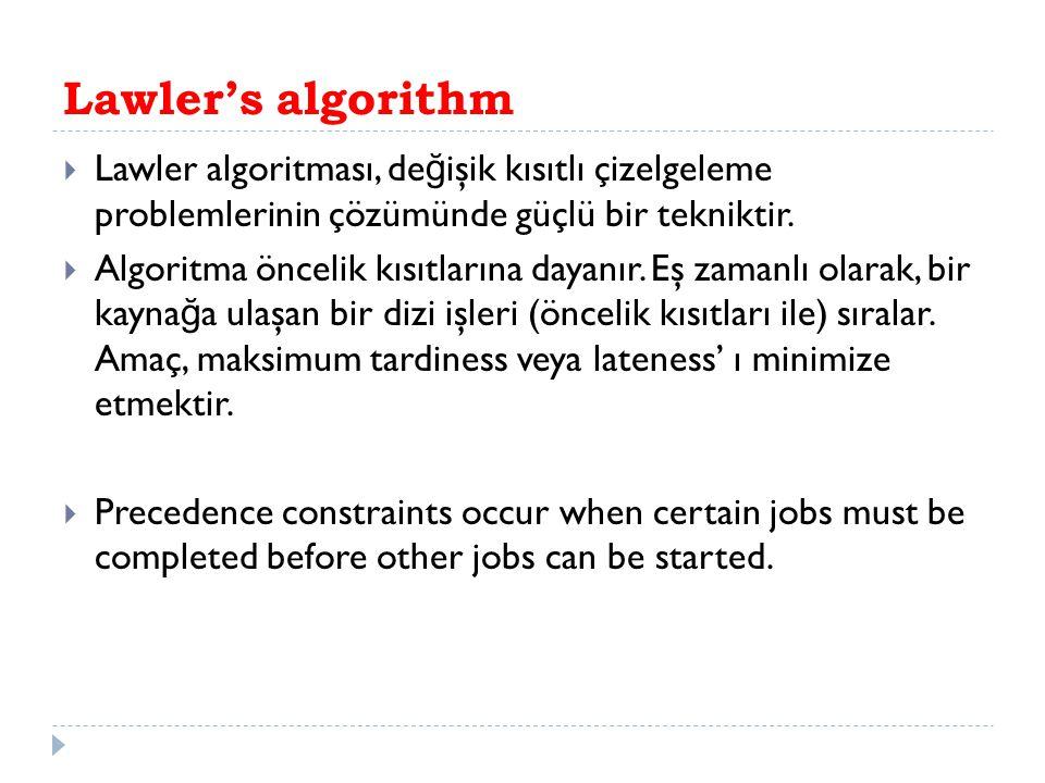 Lawler's algorithm  Lawler algoritması, de ğ işik kısıtlı çizelgeleme problemlerinin çözümünde güçlü bir tekniktir.  Algoritma öncelik kısıtlarına d