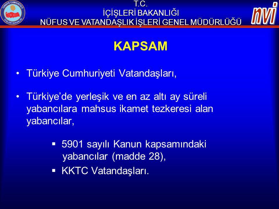 KAPSAM Türkiye Cumhuriyeti Vatandaşları, Türkiye'de yerleşik ve en az altı ay süreli yabancılara mahsus ikamet tezkeresi alan yabancılar,  5901 sayıl
