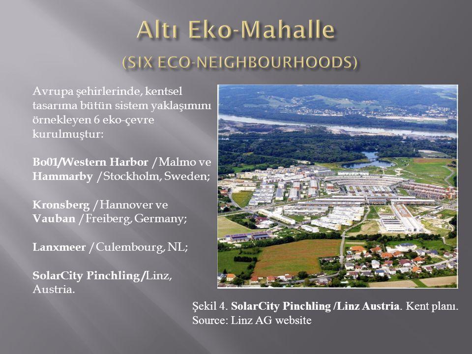 Avrupa şehirlerinde, kentsel tasarıma bütün sistem yaklaşımını örnekleyen 6 eko-çevre kurulmuştur: Bo01/Western Harbor /Malmo ve Hammarby /Stockholm,