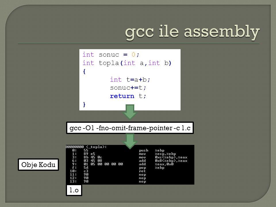 int sonuc = 0; int topla(int a,int b) { int t=a+b; sonuc+=t; return t; } gcc -O1 -fno-omit-frame-pointer -c 1.c 1.o Obje Kodu