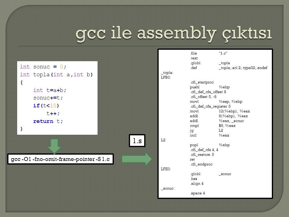 int sonuc = 0; int topla(int a,int b) { int t=a+b; sonuc+=t; if(t<10) t++; return t; } gcc -O1 -fno-omit-frame-pointer -S 1.c.file 1.c .text.globl_topla.def_topla;.scl 2;.type32;.endef _topla: LFB0:.cfi_startproc pushl%ebp.cfi_def_cfa_offset 8.cfi_offset 5, -8 movl%esp, %ebp.cfi_def_cfa_register 5 movl12(%ebp), %eax addl8(%ebp), %eax addl%eax, _sonuc cmpl$9, %eax jgL2 incl%eax L2: popl%ebp.cfi_def_cfa 4, 4.cfi_restore 5 ret.cfi_endproc LFE0:.globl_sonuc.bss.align 4 _sonuc:.space 4 1.s