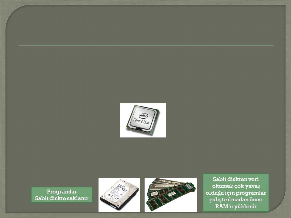 Programlar Sabit diskte saklanır Sabit diskten veri okumak çok yava ş oldu ğ u için programlar çalı ş tırılmadan önce RAM'e yüklenir