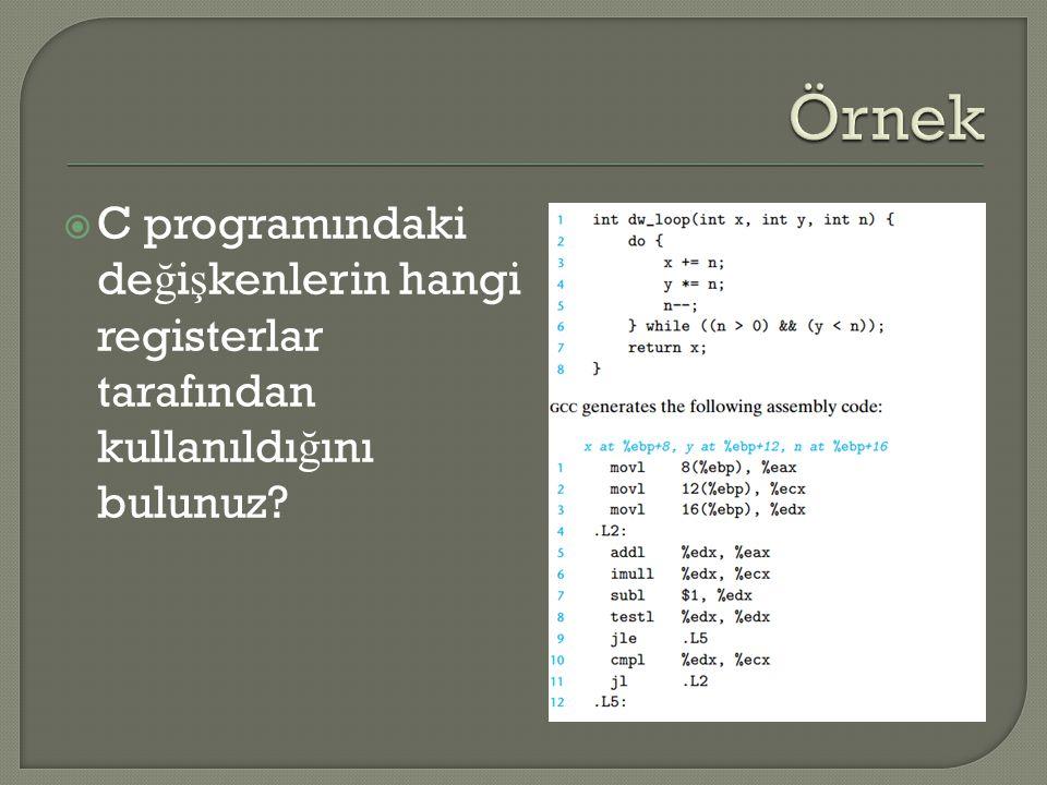  C programındaki de ğ i ş kenlerin hangi registerlar tarafından kullanıldı ğ ını bulunuz