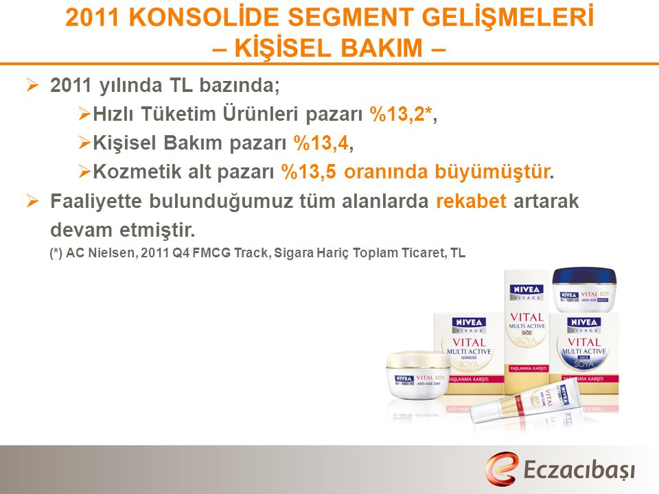 2011 KONSOLİDE SEGMENT GELİŞMELERİ – KİŞİSEL BAKIM –  2011 yılında TL bazında;  Hızlı Tüketim Ürünleri pazarı %13,2*,  Kişisel Bakım pazarı %13,4,  Kozmetik alt pazarı %13,5 oranında büyümüştür.