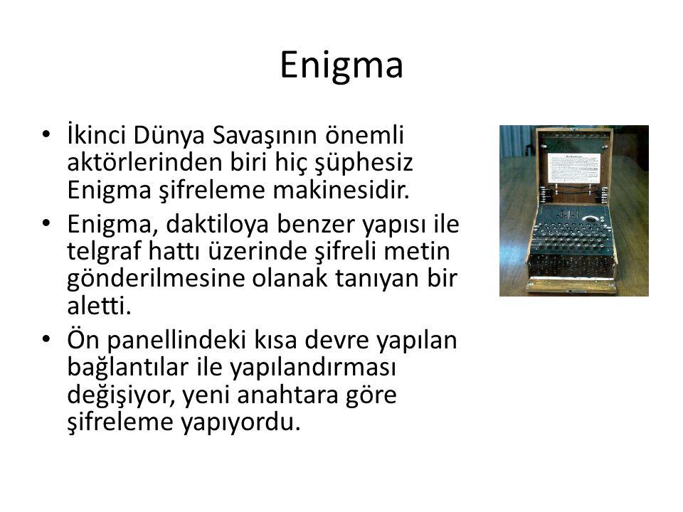 Enigma İkinci Dünya Savaşının önemli aktörlerinden biri hiç şüphesiz Enigma şifreleme makinesidir. Enigma, daktiloya benzer yapısı ile telgraf hattı ü