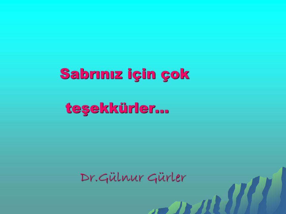 Sabrınız için çok Sabrınız için çok teşekkürler… teşekkürler… Dr.Gülnur Gürler Dr.Gülnur Gürler