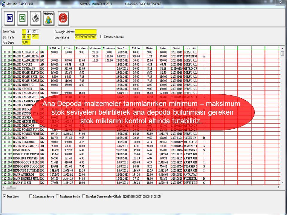 Ana Depoda malzemeler tanımlanırken minimum – maksimum stok seviyeleri belirtilerek ana depoda bulunması gereken stok miktarını kontrol altında tutabiliriz.