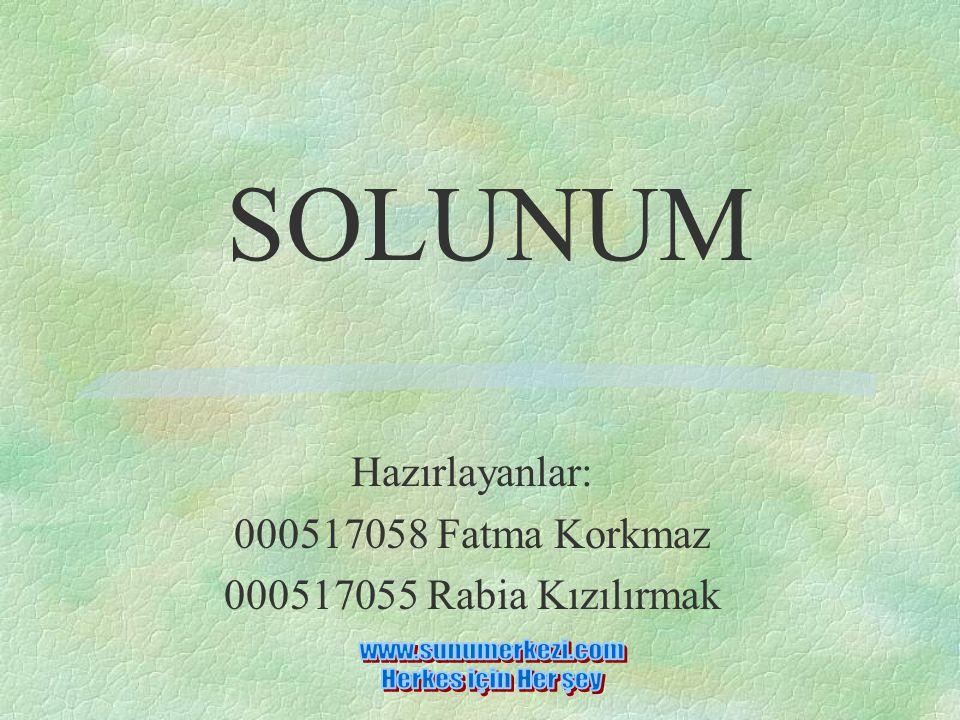 Hazırlayanlar: 000517058 Fatma Korkmaz 000517055 Rabia Kızılırmak SOLUNUM