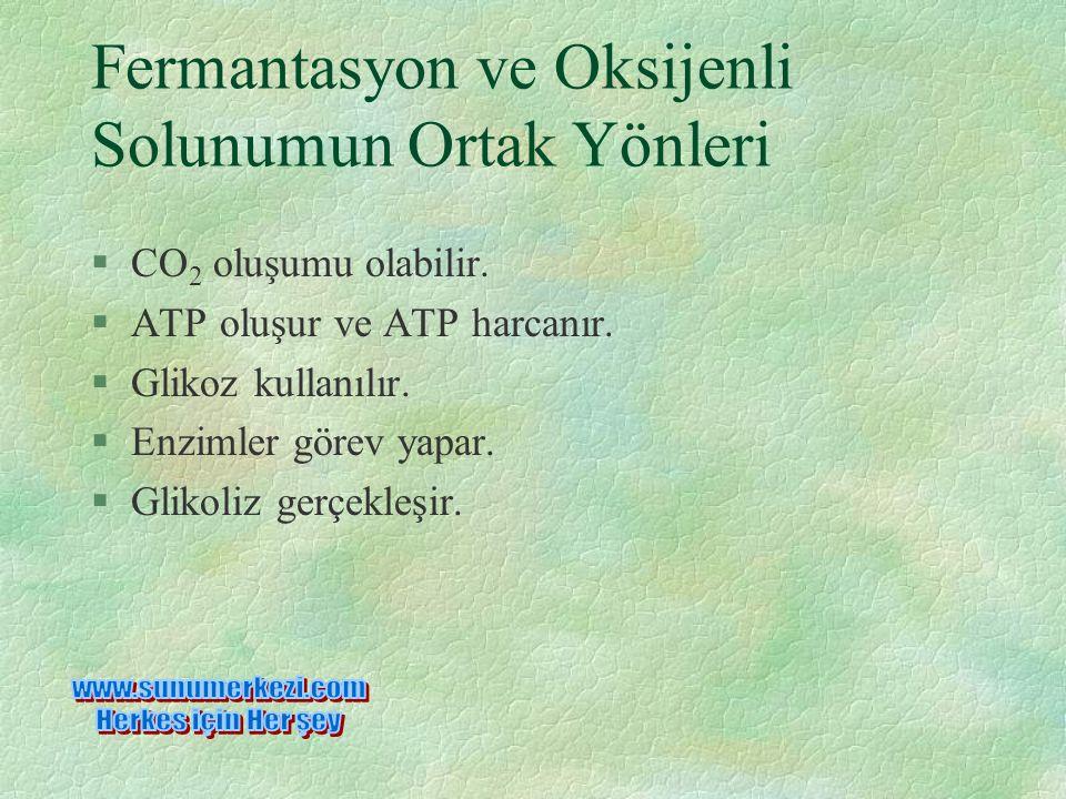 Fermantasyon ve Oksijenli Solunumun Ortak Yönleri §CO 2 oluşumu olabilir.