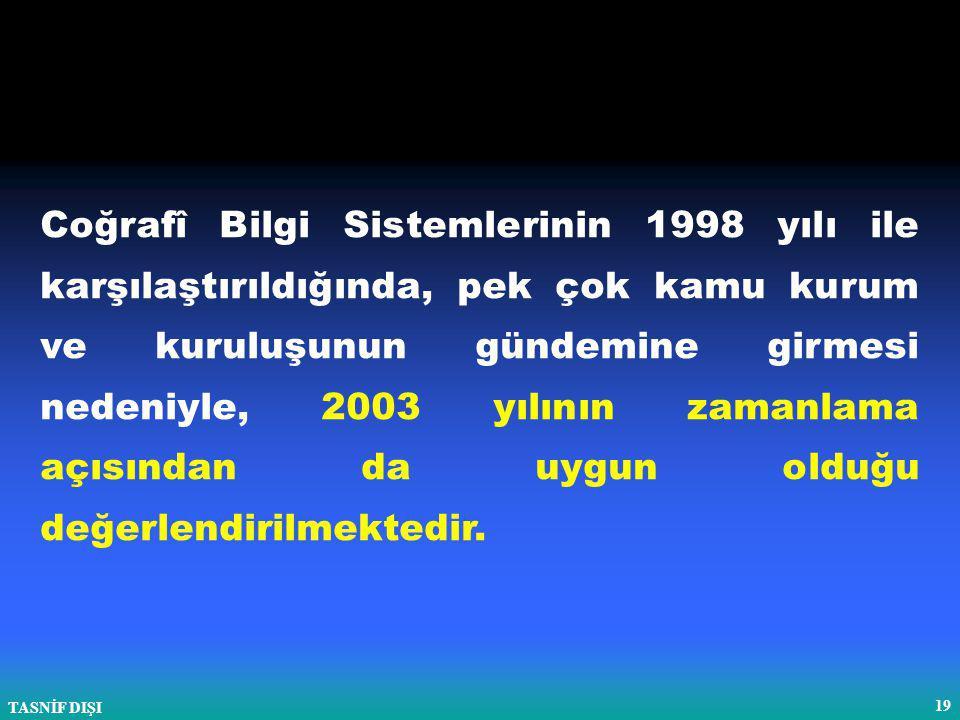 TASNİF DIŞI 19 Coğrafî Bilgi Sistemlerinin 1998 yılı ile karşılaştırıldığında, pek çok kamu kurum ve kuruluşunun gündemine girmesi nedeniyle, 2003 yılının zamanlama açısından da uygun olduğu değerlendirilmektedir.