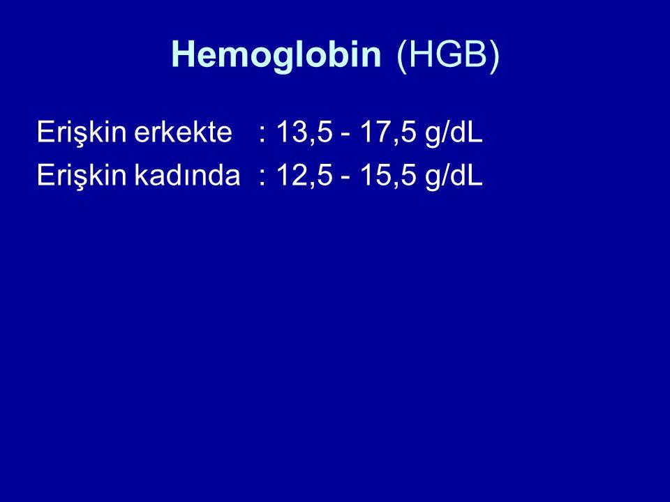 Hemoglobin (HGB) Erişkin erkekte: 13,5 - 17,5 g/dL Erişkin kadında : 12,5 - 15,5 g/dL