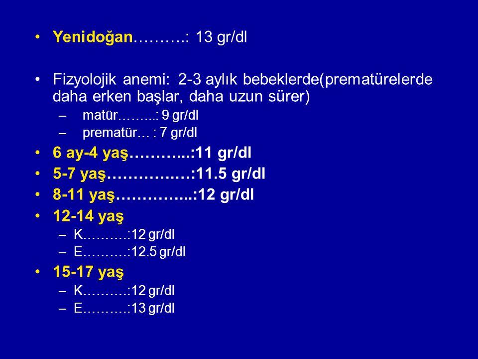 Yenidoğan……….: 13 gr/dl Fizyolojik anemi:2-3 aylık bebeklerde(prematürelerde daha erken başlar, daha uzun sürer) –matür……...: 9 gr/dl –prematür… : 7 g