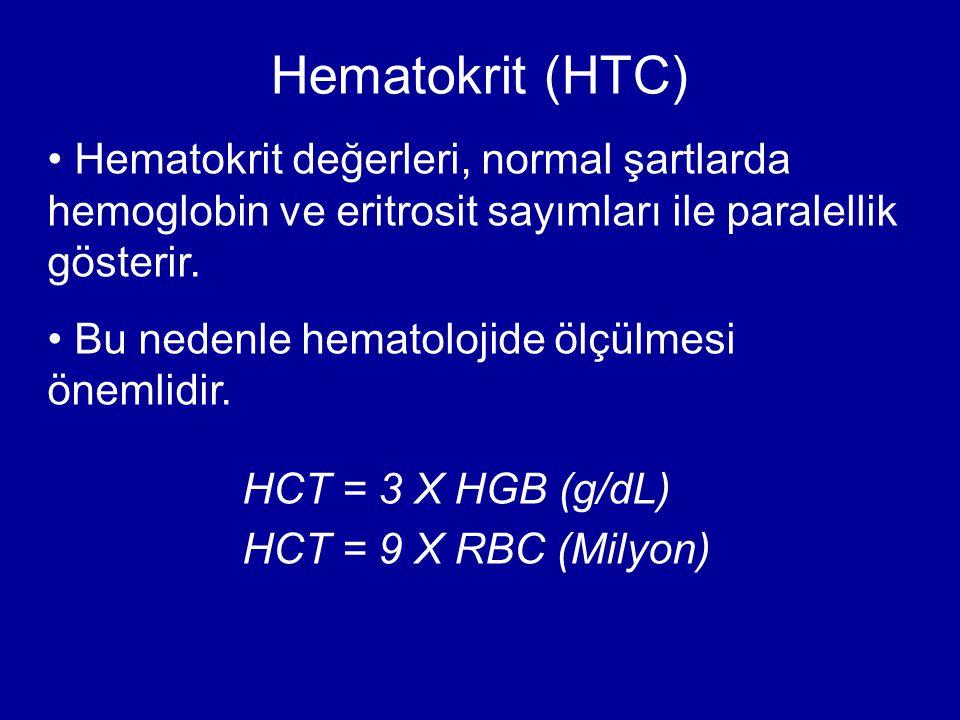 Hematokrit değerleri, normal şartlarda hemoglobin ve eritrosit sayımları ile paralellik gösterir. Bu nedenle hematolojide ölçülmesi önemlidir. Hematok