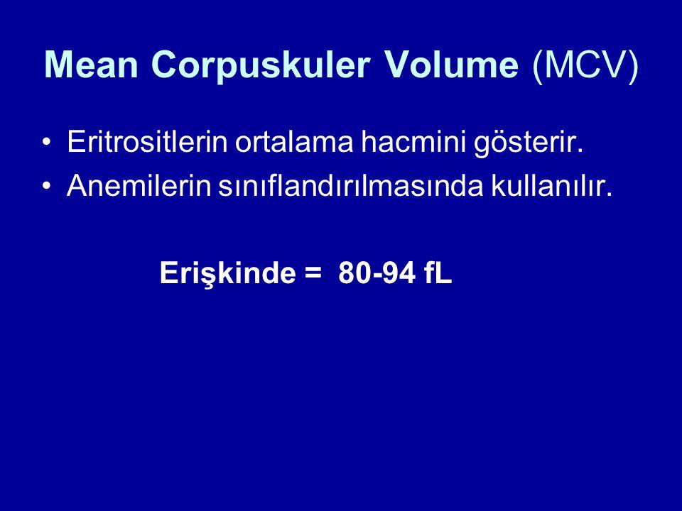 Mean Corpuskuler Volume (MCV) Eritrositlerin ortalama hacmini gösterir. Anemilerin sınıflandırılmasında kullanılır. Erişkinde = 80-94 fL