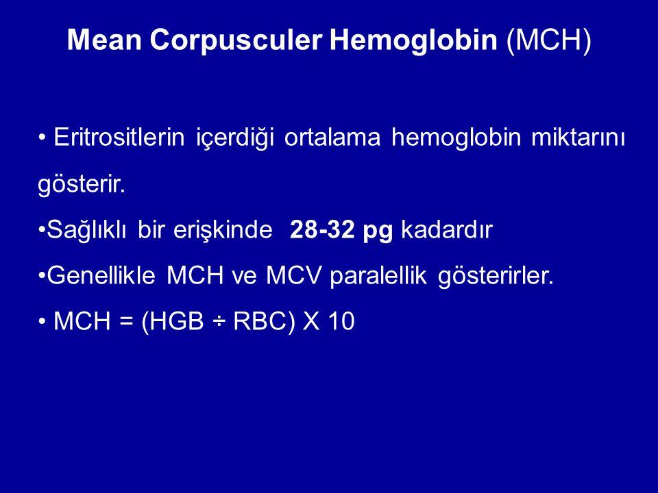 Mean Corpusculer Hemoglobin (MCH) Eritrositlerin içerdiği ortalama hemoglobin miktarını gösterir. Sağlıklı bir erişkinde 28-32 pg kadardır Genellikle