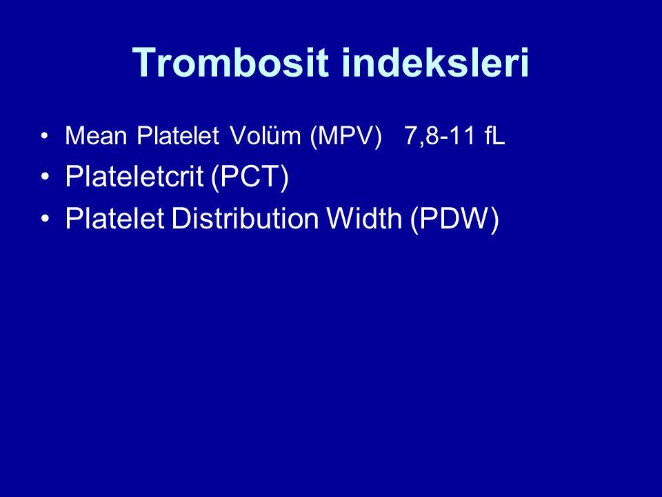 Trombosit indeksleri Mean Platelet Volüm (MPV) 7,8-11 fL Plateletcrit (PCT) Platelet Distribution Width (PDW)