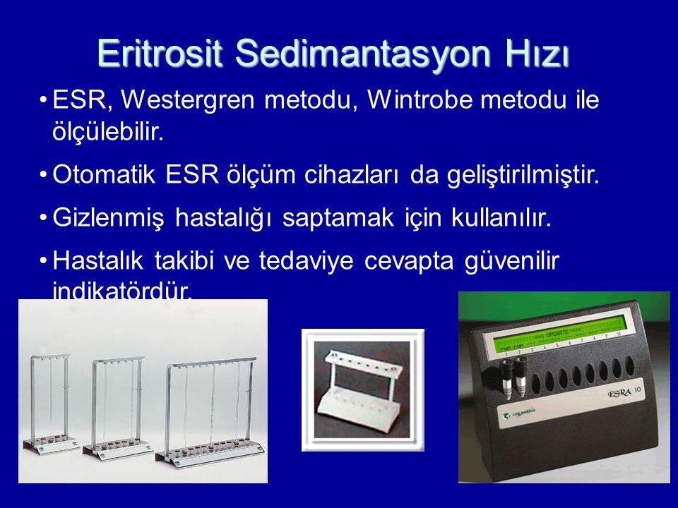 ESR, Westergren metodu, Wintrobe metodu ile ölçülebilir. Otomatik ESR ölçüm cihazları da geliştirilmiştir. Gizlenmiş hastalığı saptamak için kullanılı
