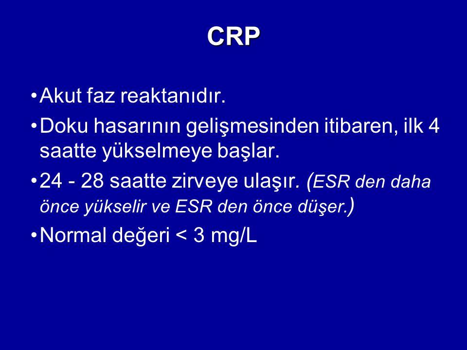 CRP Akut faz reaktanıdır. Doku hasarının gelişmesinden itibaren, ilk 4 saatte yükselmeye başlar. 24 - 28 saatte zirveye ulaşır. ( ESR den daha önce yü