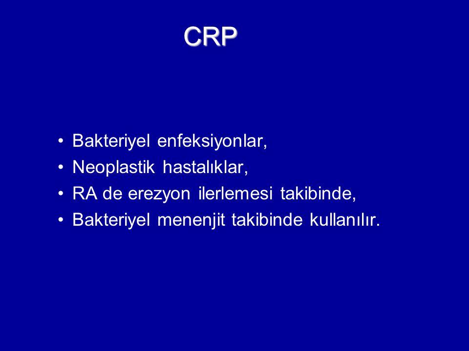 Bakteriyel enfeksiyonlar, Neoplastik hastalıklar, RA de erezyon ilerlemesi takibinde, Bakteriyel menenjit takibinde kullanılır. CRP