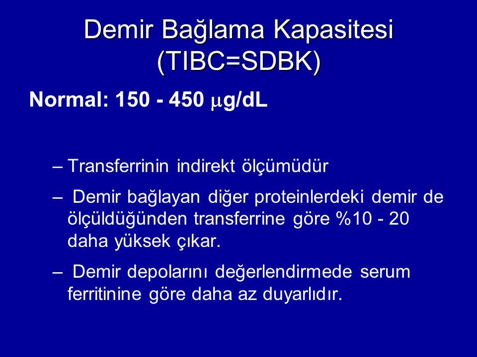 Demir Bağlama Kapasitesi (TIBC=SDBK) Normal: 150 - 450  g/dL –Transferrinin indirekt ölçümüdür – Demir bağlayan diğer proteinlerdeki demir de ölçüldü