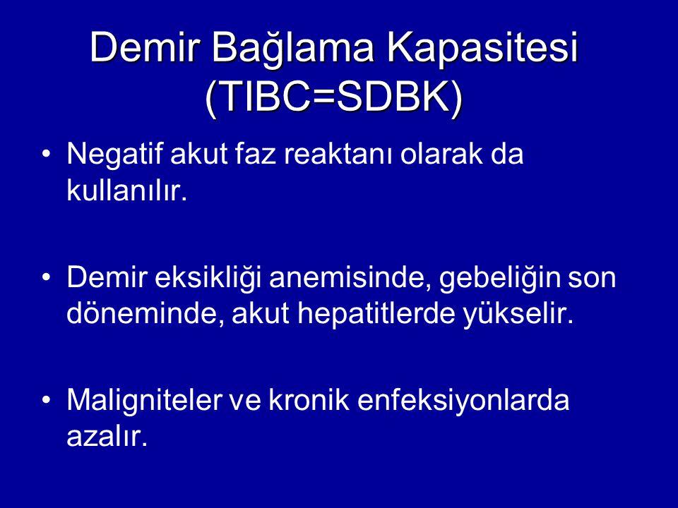 Demir Bağlama Kapasitesi (TIBC=SDBK) Negatif akut faz reaktanı olarak da kullanılır. Demir eksikliği anemisinde, gebeliğin son döneminde, akut hepatit