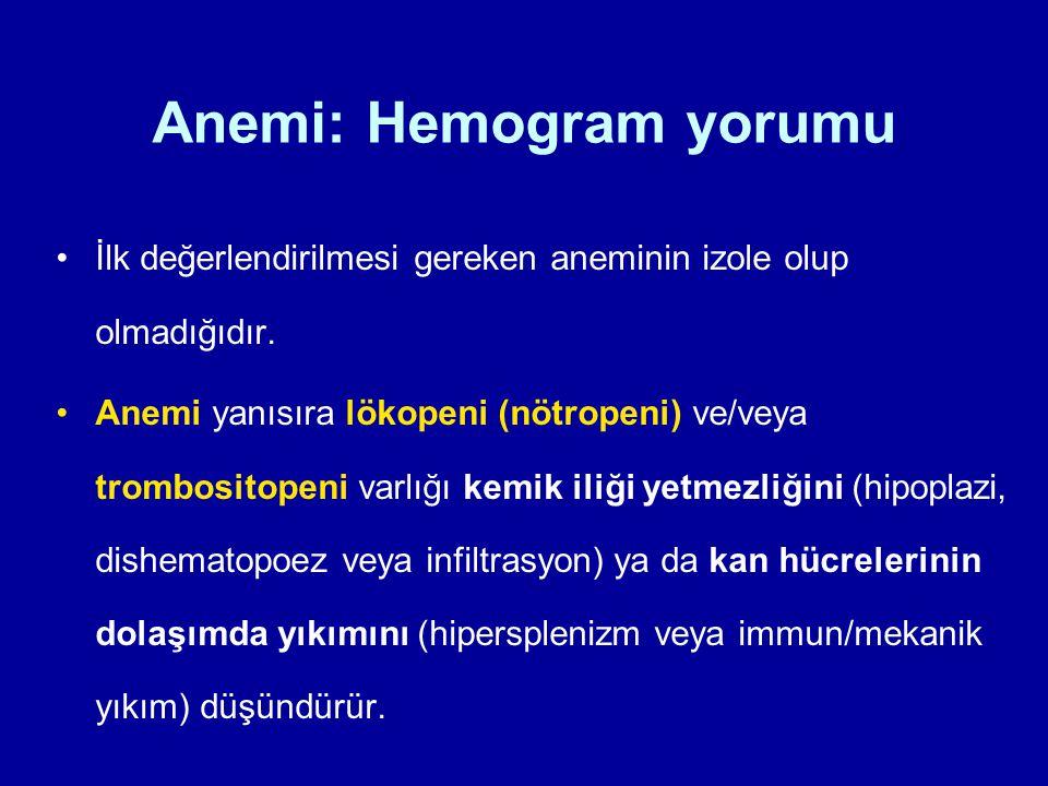 Anemi: Hemogram yorumu İlk değerlendirilmesi gereken aneminin izole olup olmadığıdır. Anemi yanısıra lökopeni (nötropeni) ve/veya trombositopeni varlı