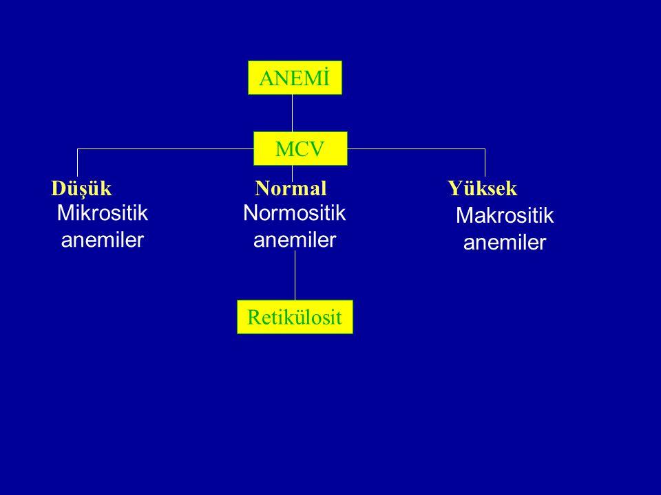 ANEMİ MCV Düşük NormalYüksek Retikülosit Mikrositik anemiler Makrositik anemiler Normositik anemiler