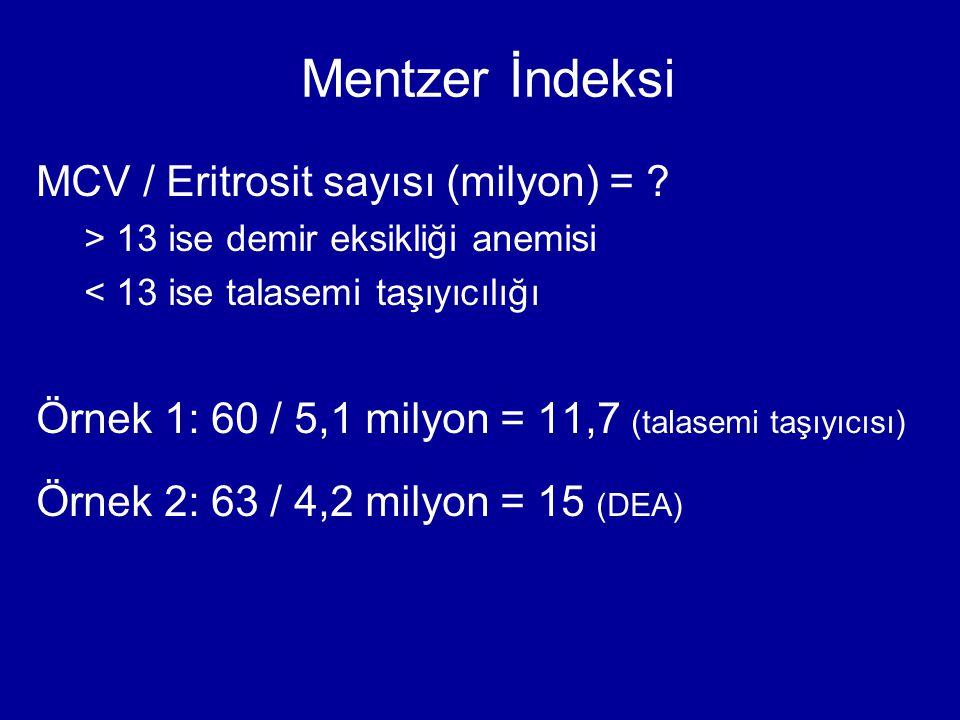 Mentzer İndeksi MCV / Eritrosit sayısı (milyon) = ? > 13 ise demir eksikliği anemisi < 13 ise talasemi taşıyıcılığı Örnek 1: 60 / 5,1 milyon = 11,7 (t