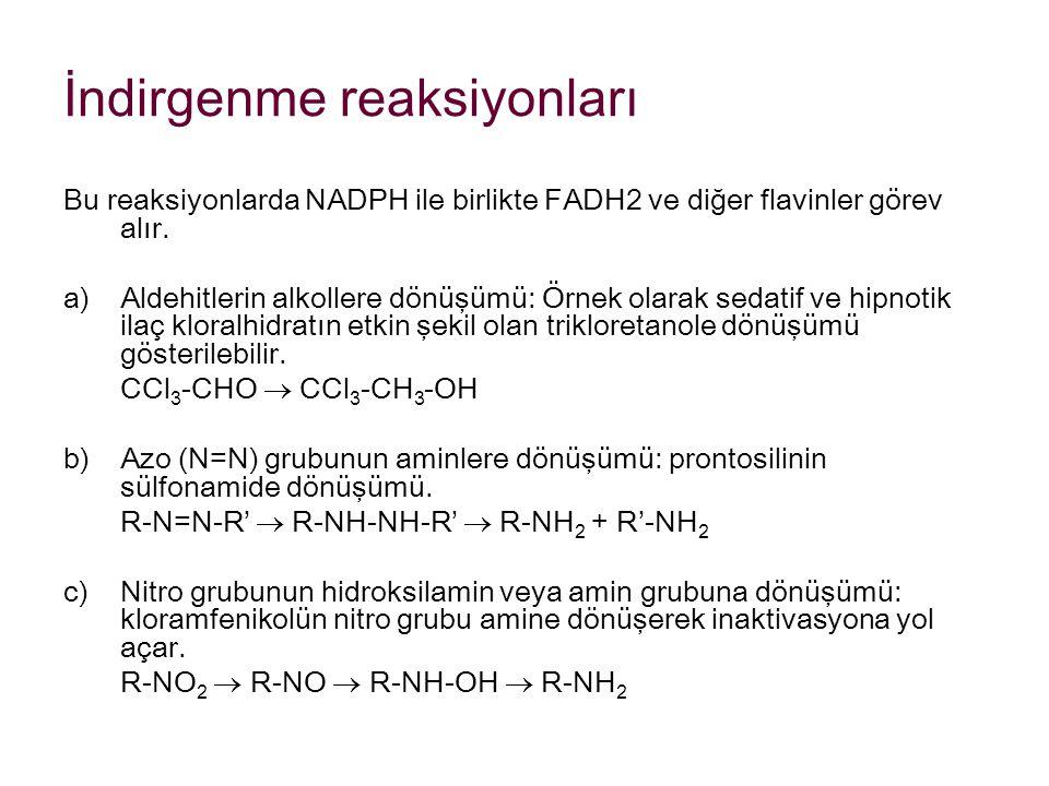 İndirgenme reaksiyonları Bu reaksiyonlarda NADPH ile birlikte FADH2 ve diğer flavinler görev alır. a)Aldehitlerin alkollere dönüşümü: Örnek olarak sed