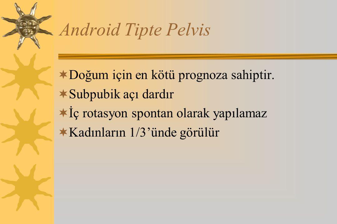Android Tipte Pelvis  Doğum için en kötü prognoza sahiptir.  Subpubik açı dardır  İç rotasyon spontan olarak yapılamaz  Kadınların 1/3'ünde görülü