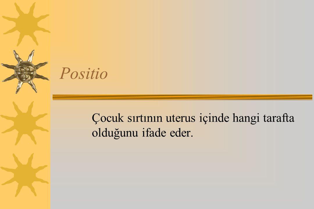 Positio Çocuk sırtının uterus içinde hangi tarafta olduğunu ifade eder.