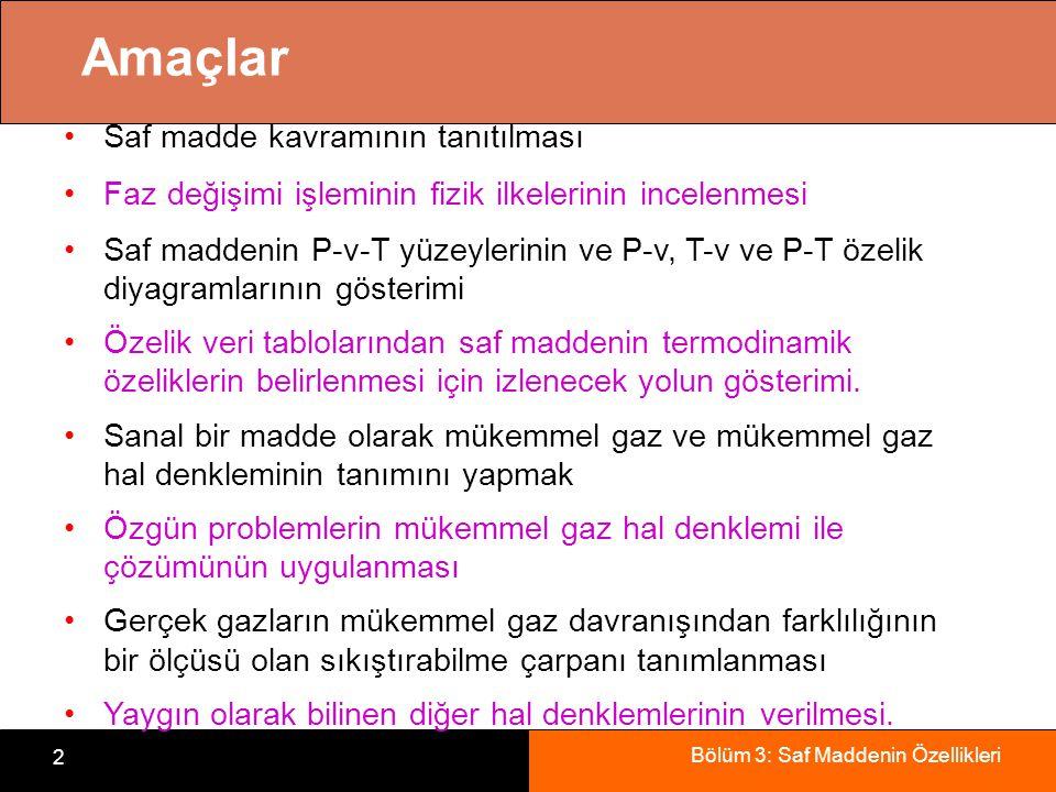 Bölüm 3: Saf Maddenin Özellikleri 2 Amaçlar Saf madde kavramının tanıtılması Faz değişimi işleminin fizik ilkelerinin incelenmesi Saf maddenin P-v-T y