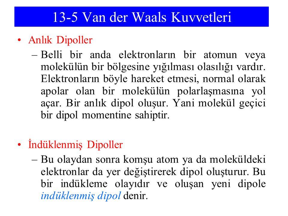 13-5 Van der Waals Kuvvetleri Anlık Dipoller –Belli bir anda elektronların bir atomun veya molekülün bir bölgesine yığılması olasılığı vardır. Elektro