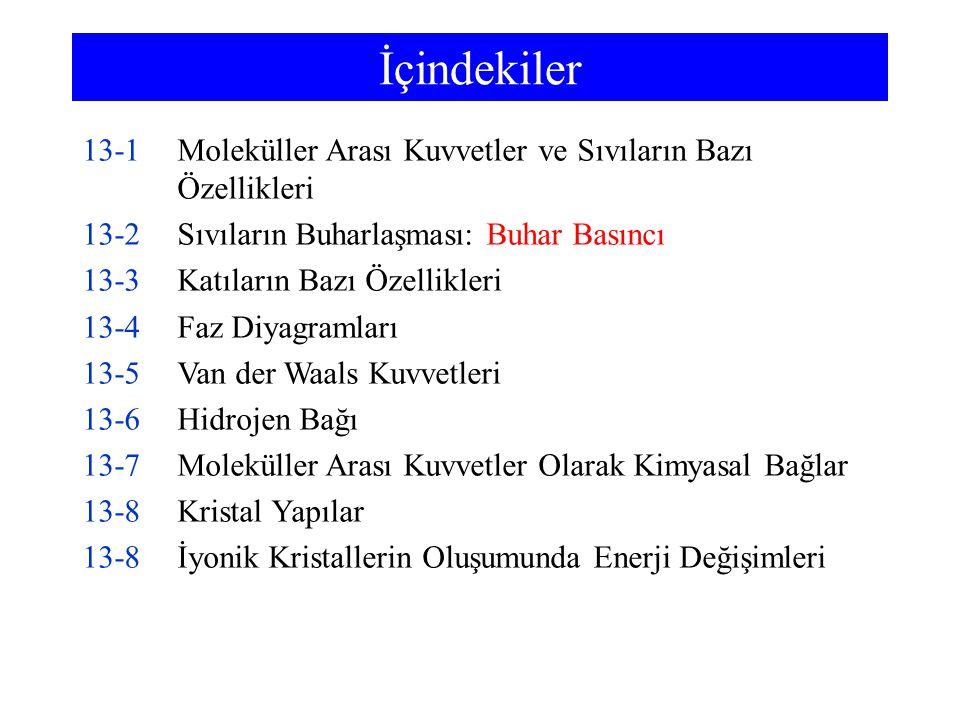İçindekiler 13-1Moleküller Arası Kuvvetler ve Sıvıların Bazı Özellikleri 13-2Sıvıların Buharlaşması: Buhar Basıncı 13-3Katıların Bazı Özellikleri 13-4