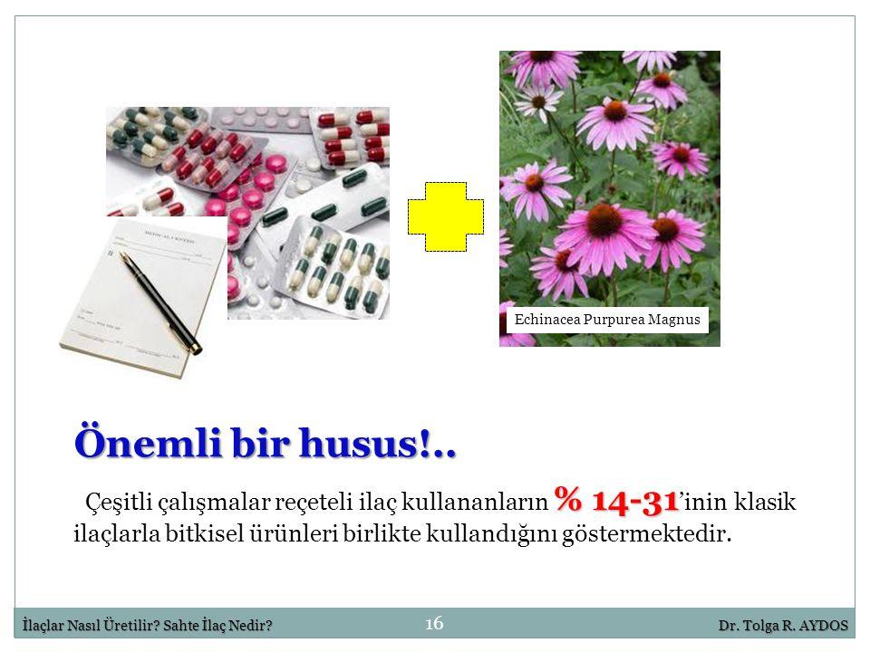 16 İlaçlar Nasıl Üretilir? Sahte İlaç Nedir?Dr. Tolga R. AYDOS Echinacea Purpurea Magnus % 14-31 Çeşitli çalışmalar reçeteli ilaç kullananların % 14-3