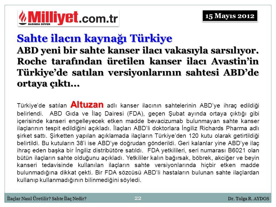 22 İlaçlar Nasıl Üretilir? Sahte İlaç Nedir?Dr. Tolga R. AYDOS Sahte ilacın kaynağı Türkiye ABD yeni bir sahte kanser ilacı vakasıyla sarsılıyor. Roch
