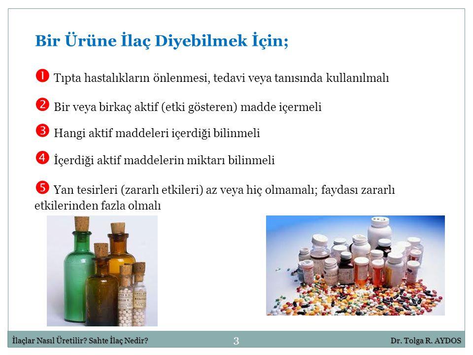 3 İlaçlar Nasıl Üretilir? Sahte İlaç Nedir?Dr. Tolga R. AYDOS  Tıpta hastalıkların önlenmesi, tedavi veya tanısında kullanılmalı Bir Ürüne İlaç Diyeb