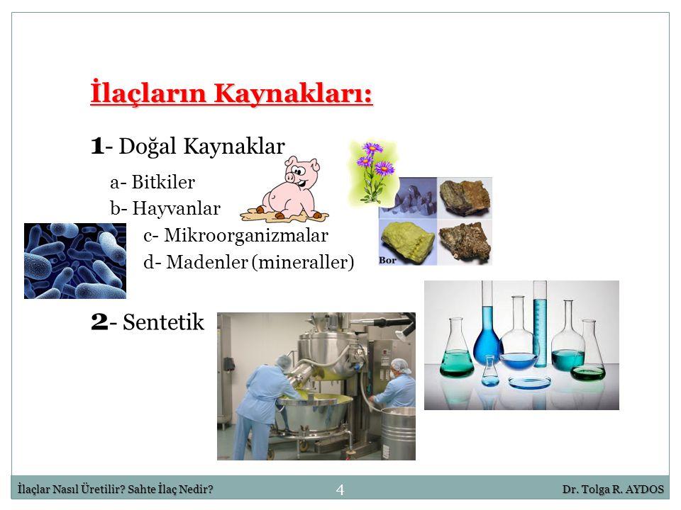 4 İlaçlar Nasıl Üretilir? Sahte İlaç Nedir?Dr. Tolga R. AYDOS İlaçların Kaynakları: 1 - Doğal Kaynaklar 2 - Sentetik a- Bitkiler b- Hayvanlar c- Mikro