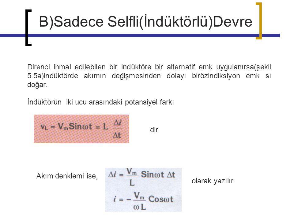 Direnci ihmal edilebilen bir indüktöre bir alternatif emk uygulanırsa(şekil 5.5a)indüktörde akımın değişmesinden dolayı birözindiksiyon emk sı doğar.