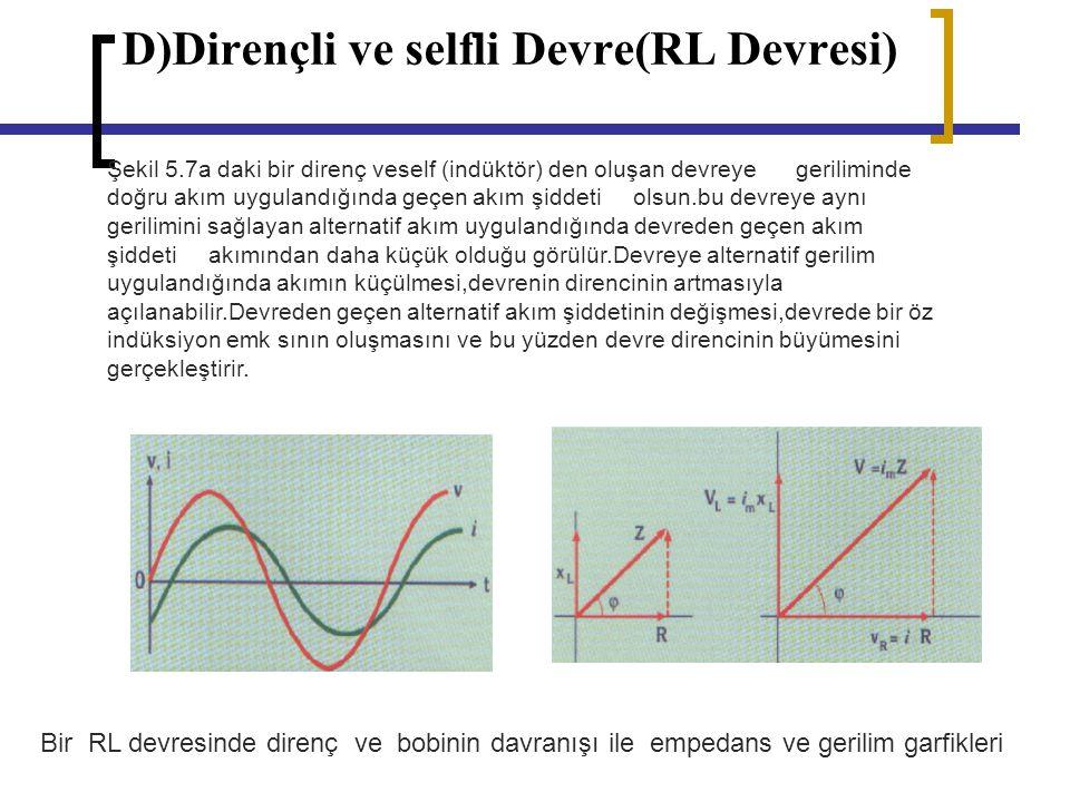 D)Dirençli ve selfli Devre(RL Devresi) Şekil 5.7a daki bir direnç veself (indüktör) den oluşan devreye geriliminde doğru akım uygulandığında geçen akı