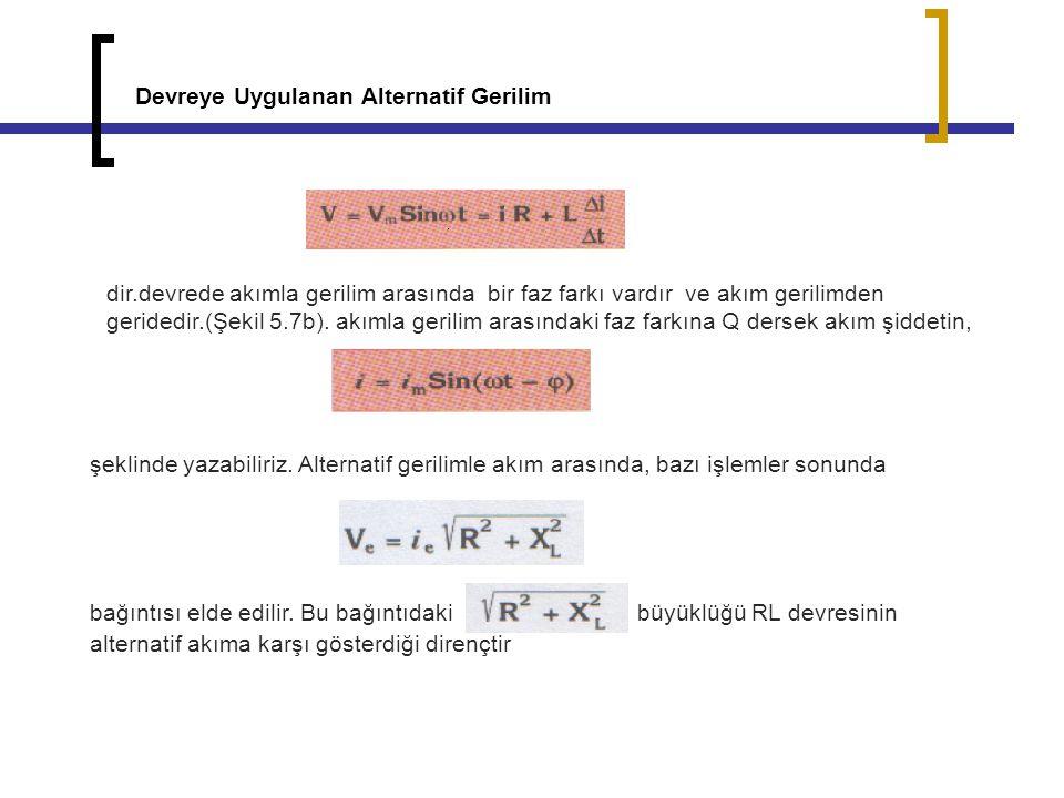 Devreye Uygulanan Alternatif Gerilim dir.devrede akımla gerilim arasında bir faz farkı vardır ve akım gerilimden geridedir.(Şekil 5.7b). akımla gerili